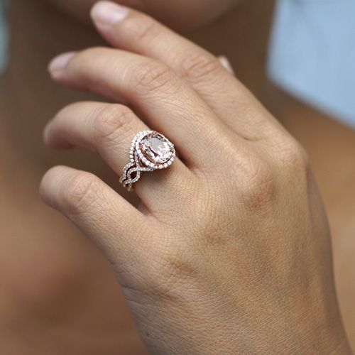 Morganite oval halo diamond twist shank engagement ring 18k rose gold-- would want it DIAMONDS and WHITE GOLD