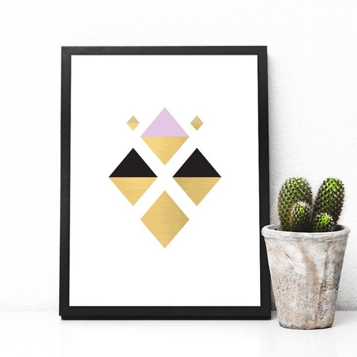 Modern rhombus print, gold black and pink, Scandinavian design, Mid Century Modern, minimal wall art, Geometric Art,   Printable Art by KristinaDesignArt on Etsy