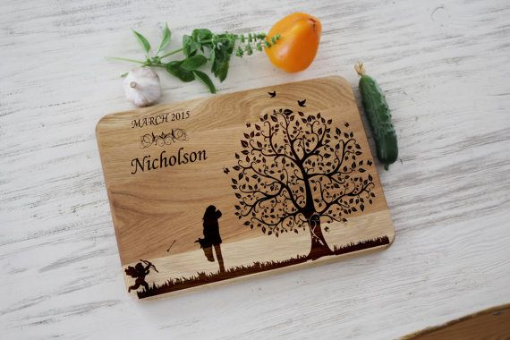 Wedding gift for the couple Personalized laser engraving by Vyroby