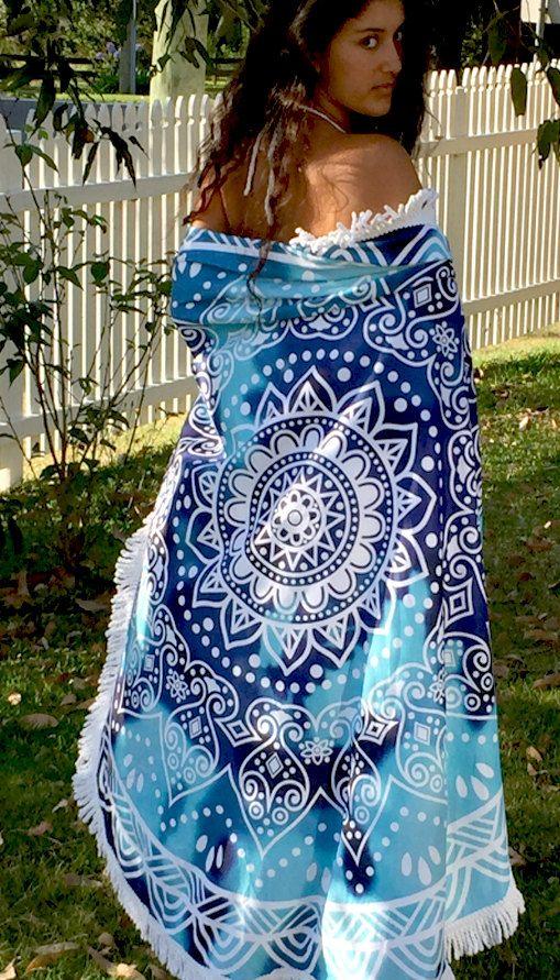 Round Mandala Beach Towel with Fringe ~ BEACH DREAMS by KateStClaireLivingCo on Etsy