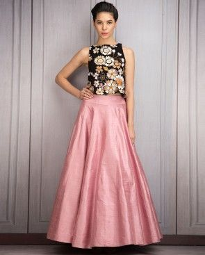Salmon Pink Lengha and Crop Top