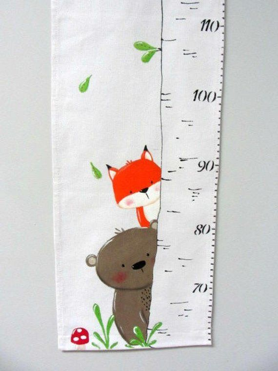 Pet screen of the forest, scale, fabric, ruler growth chart, home decor, baby