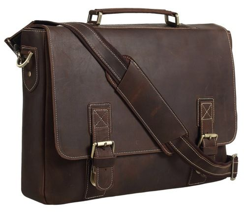 The Pratt Leather Executive Business Bag features rustic oil-tanned leather and looks great personalized!