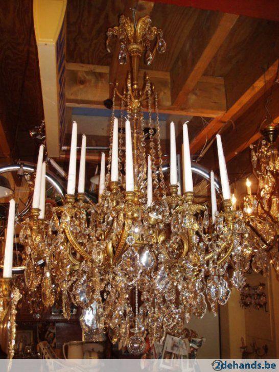 Grpte oude bronzen/kristallen kroonluchter 6lampen - Te koop