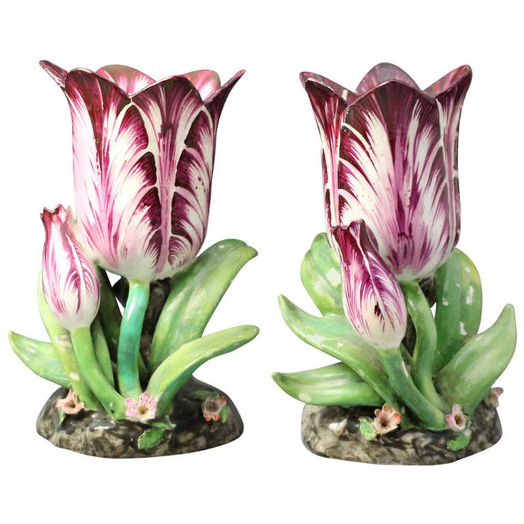 Pair of Antique English Staffordshire Porcelain Tulip form Vases | From a unique collection of antique and modern vases at http://www.1stdibs.com/furniture/dining-entertaining/vases/