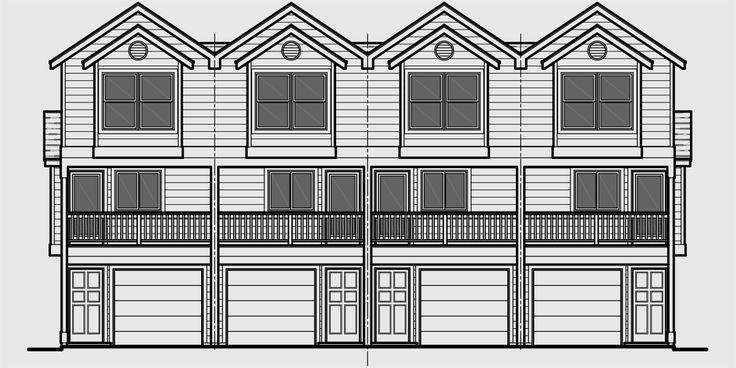 101 best triplex and fourplex house plans images on for Quadplex plans