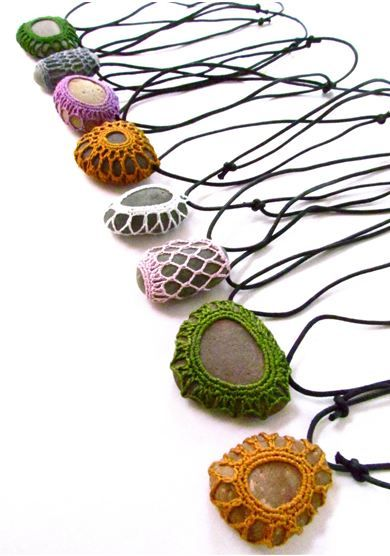Use metalic thread to crochet special stones into necklaces...