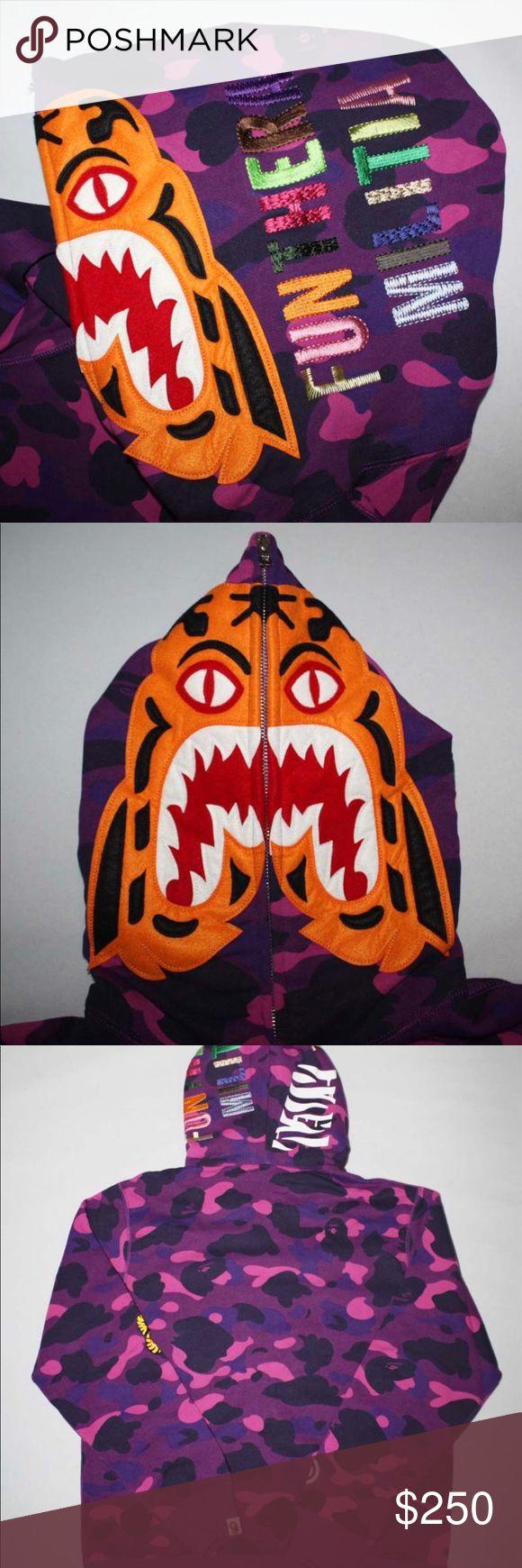 Bape purple camo tiger hoodie size large Worn 2x. Still like new. Comes with bag. Size large. Need cash no lowballs plz. Bape Shirts Sweatshirts & Hoodies