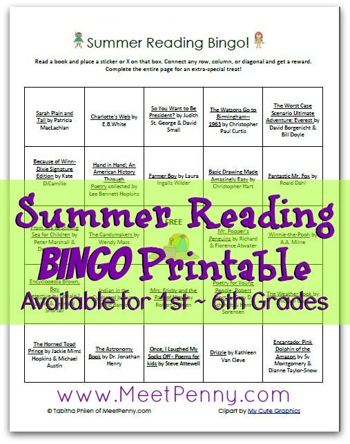 Recommended reading for summer set up like a bingo game. Entice your reader with rewards. Available for 1st - 6th grades.