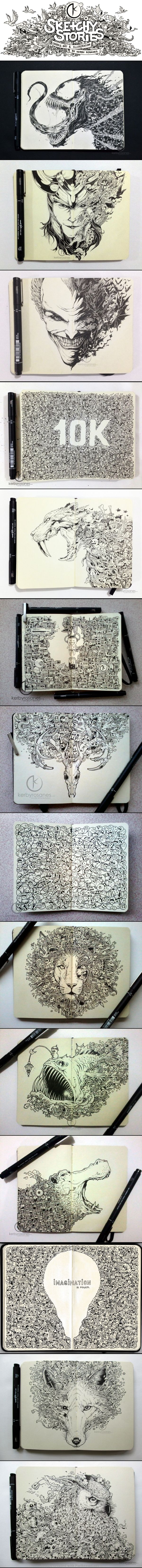 Insanely detailed and precise pen and ink moleskine pages by Kerby Rosanes. THIS IS SO AMAZING