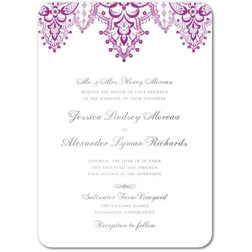 Curtain Call - Signature White Wedding Invitations - East Six Design - Berry - Purple : Front