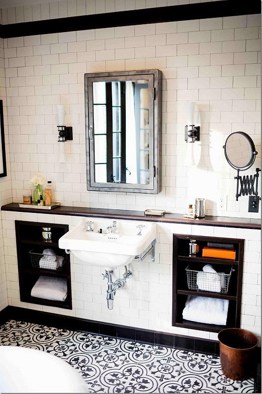 hate the sink and mirror - love the cabinets inset like that and love the extendable mirror in black - things that inspire - future master bath