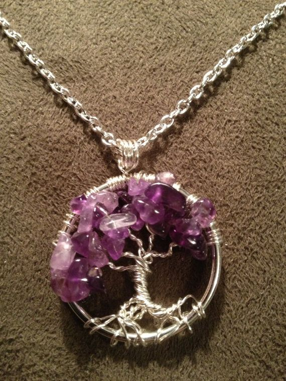 Jewelry For Her Petite Tree Of Life Necklace Amethyst