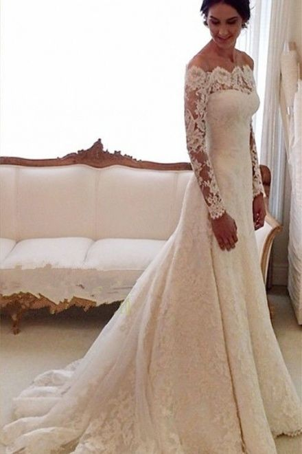 Scalloped Lace Chapel Train Trumpet Long Sleeves Wedding Dress #LACE #WEDING #DRESS