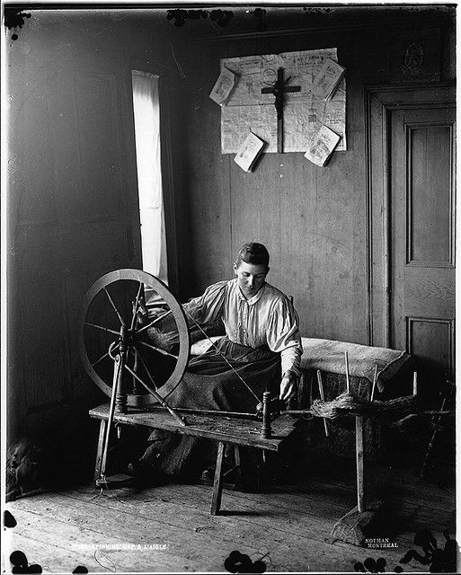A woman spinning, Cap à l'Aigle, QC, about 1895. #vintage #Canada #Victorian