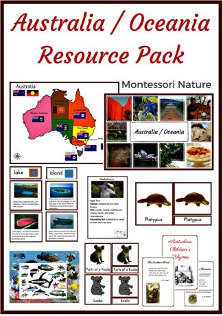 Australia - Oceania Resource Pack - Montessori Printables - Montessori Nature Blog