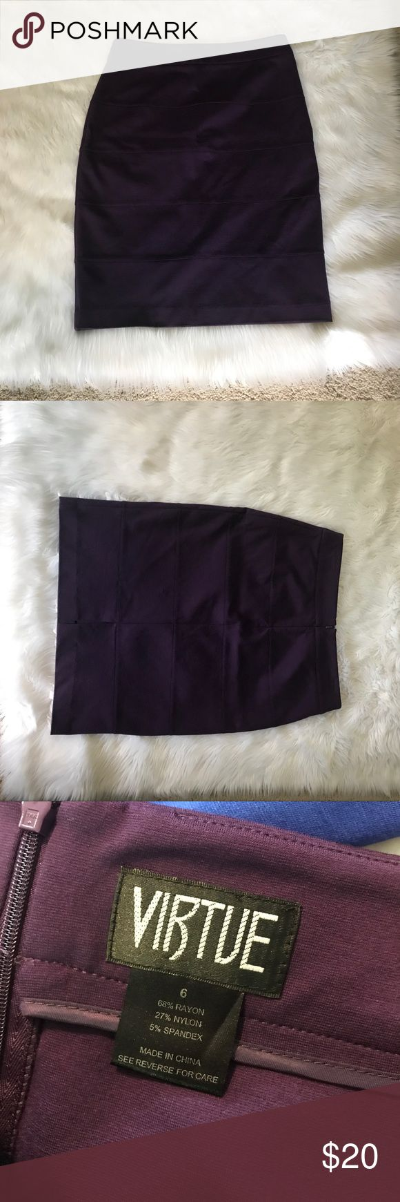 Purple pencil skirt by Virtue size 6 Great bandage style skirt by Virtue size 6 beautifully made and great condition! Color is closest to last photo! ;) Also selling in size 6 Royal Blue! Be sure to check out my other items, and bundle to save! :) virtue Skirts Pencil