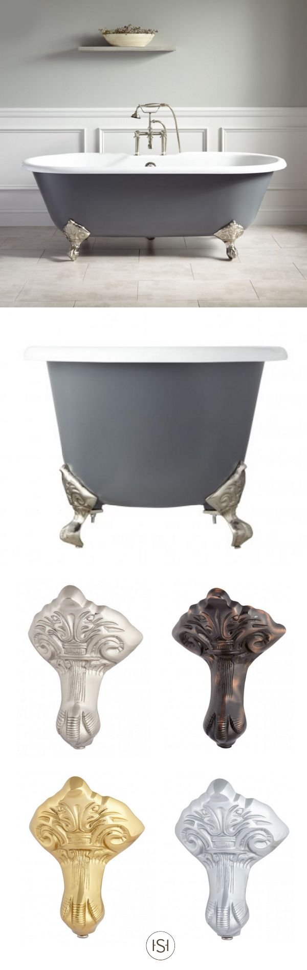 "Think of this 66"" Stanford Cast Iron Clawfoot Tub with Imperial Feet as the missing puzzle piece to your elegant bathroom makeover. With options for a customized metal finishes, you can make your space a truly unique experience."