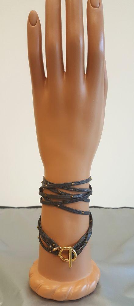 Grey 18K gold gorjana Genuine Leather Triple Strand Wrap Bracelet #gorjana #wrap