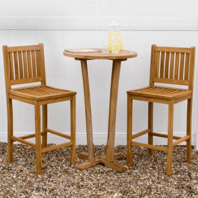 3-Piece Teak Bar Table Set