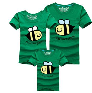 Little bee Family T Shirts Blue