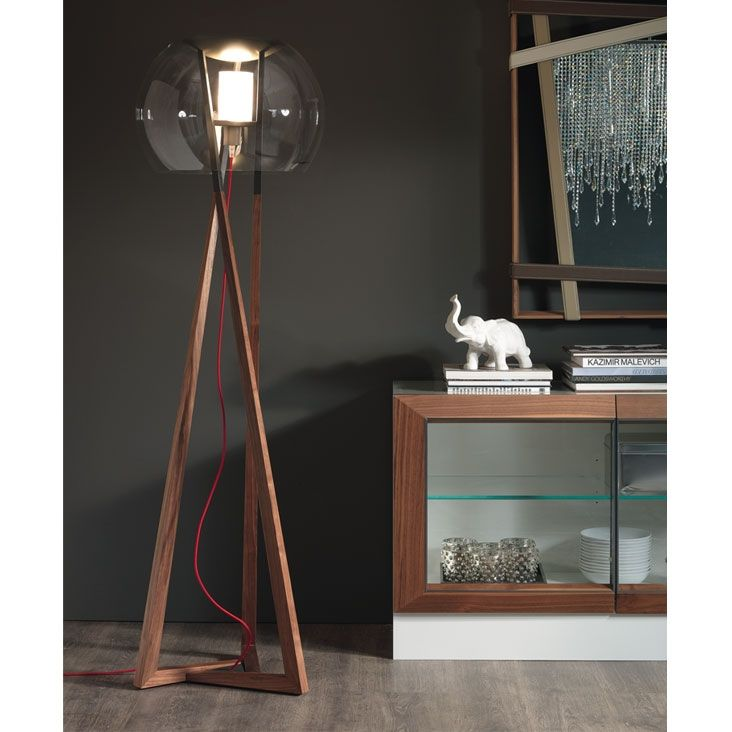 Compass Cattelan Italia  The floor lamp Compass with a simple and essential design, made by Cattelan Italia, is made in walnut structure Canaletto and painted graphite steel, the screen is in transparent crystal.  http://www.martinelstore.com/en/prod/accessories/lighting/compass-cattelan-italia.html