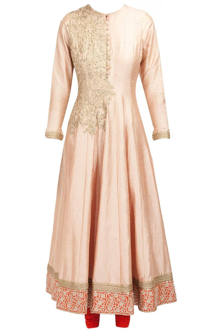 Peach and orange embroidered anarkali available only at Pernia's Pop-Up Shop.