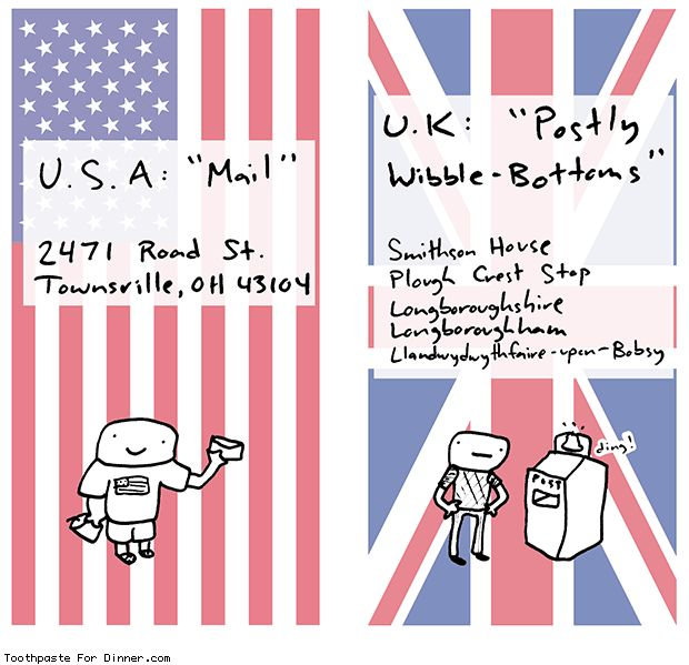 US mail versus UK mail. From Toothpaste for Dinner.
