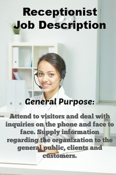 List of receptionist duties and receptionist skills. Complete description of the receptionist job including all tasks and responsibilities.