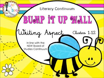 This super cute Bee themed Bump It Up Wall includes all indicators in line with the NSW Board of Studies Literacy Continuum - Writing Aspect - Clusters 1 - 12. The Bump It Up Wall is designed to be used as a visual tool for students to pinpoint their current level of learning/understanding then chart their own progress toward specific goals.