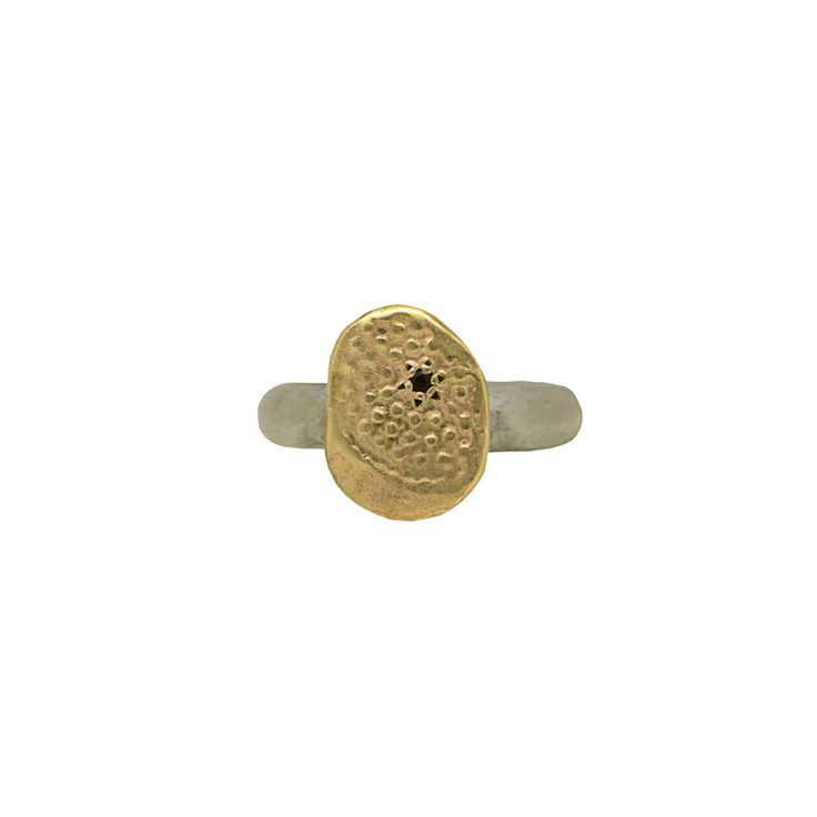 Textured Gold Ring with Silver Band
