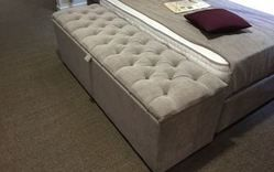 We'll make Ottoman storage boxes in any size, fabric & colour with choice of lids. Fancy a 4 feet square ottoman box that doubles as a useful seat? Custom made bedroom storage www.robinsonsbeds.co.uk