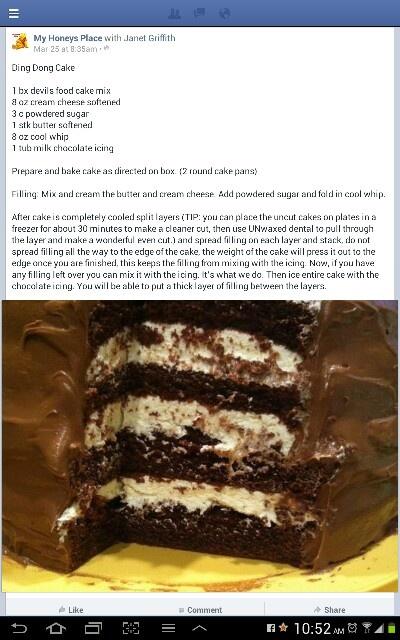 Ding Dong Cake, like Saunders Bumpy cake!