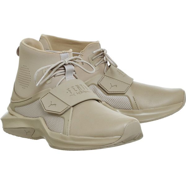 Puma Fenty Trainers Sesame ($185) ❤ liked on Polyvore featuring shoes, sneakers, puma shoes, puma sneakers, puma trainers and puma footwear