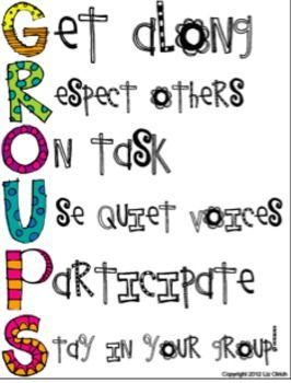 Group Expectations. I really liked this poster because it's fun and pleasant to look at. I think it's important to have classroom rules and expectations up around the classroom so the students have reminders about acceptable behavior. I would probably hang this by a group work area in a classroom for a younger grade.