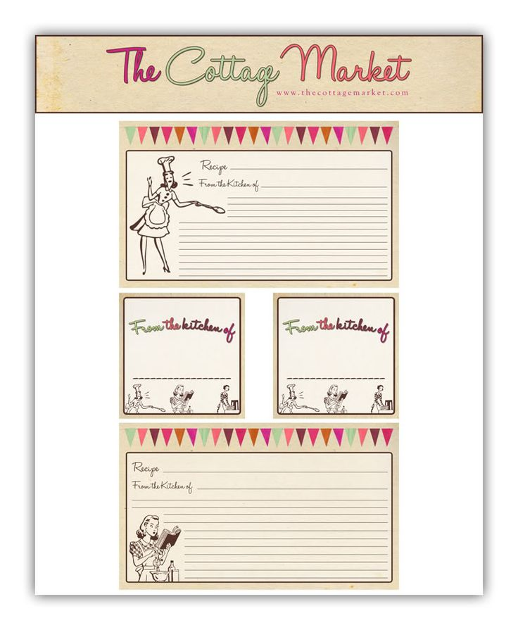 Free Printable Recipe Cards and more Part 2