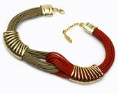 Amber and Red Bond - Gold platetd Pewter - Elegant Necklace -Hand Made by FYSALIDES, for Mother's Day gift