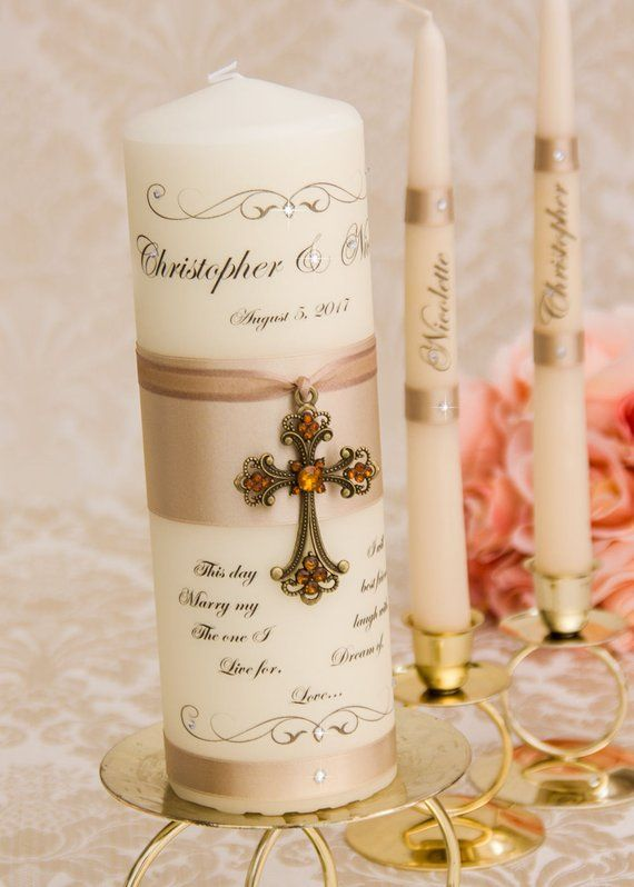 champagne unity candle set