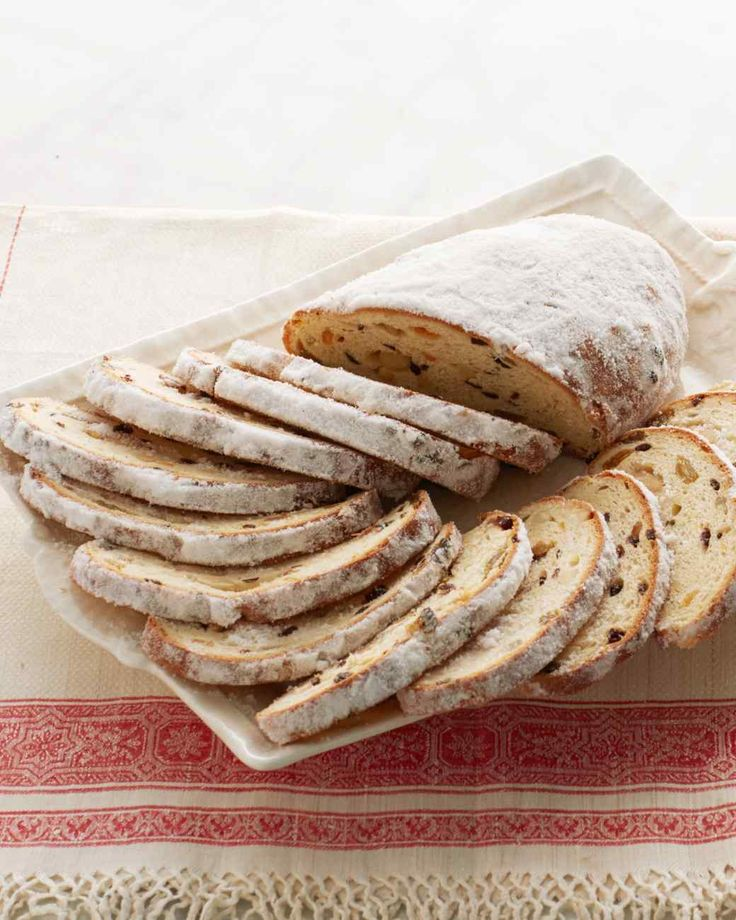 Stollen, 1/2 recipe makes 1 very large and 2 medium size loaves. I soaked all the fruit in Grand Marnier and Ameretto. Yummy!