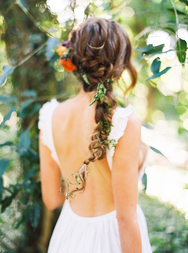braided wedding hair - photo by Danielle Poff Photography http://ruffledblog.com/bohemian-forest-wedding-editorial-in-maui #weddinghair #braids #bridal