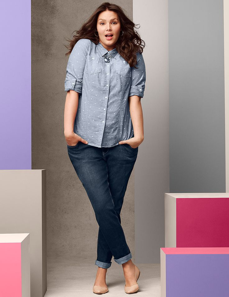 Plus Size Casual Double Pocket Shirt by Lane Bryant | Lane Bryant