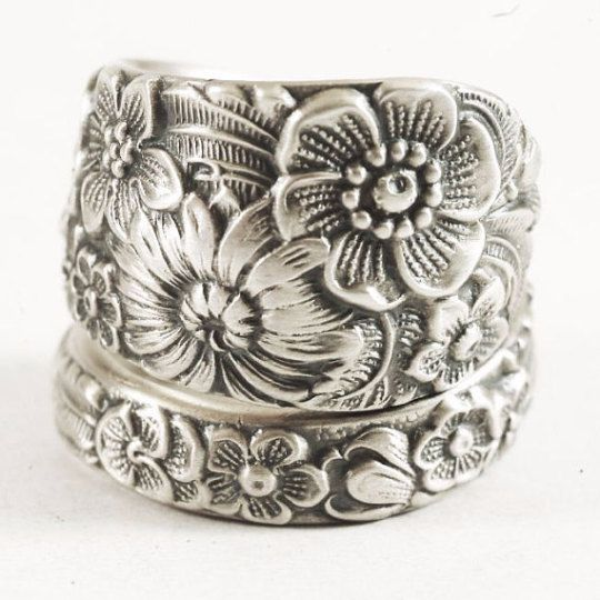 Fancy Wild Flower Ring Sterling Silver Spoon Ring Wedding by Spoonier