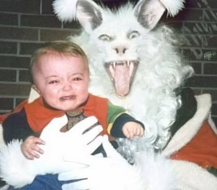 Scary santa as a rabbit