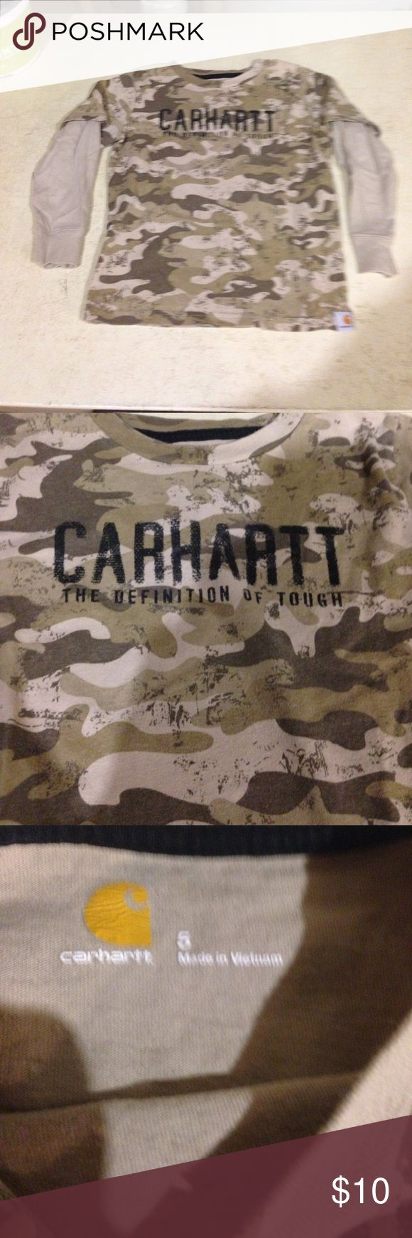Carhartt long sleeve shirt size 5 Camouflage looking shirt that looks like a short sleeve shirt over a long sleeve shirt. Excellent used condition Carhartt Shirts & Tops Tees - Long Sleeve
