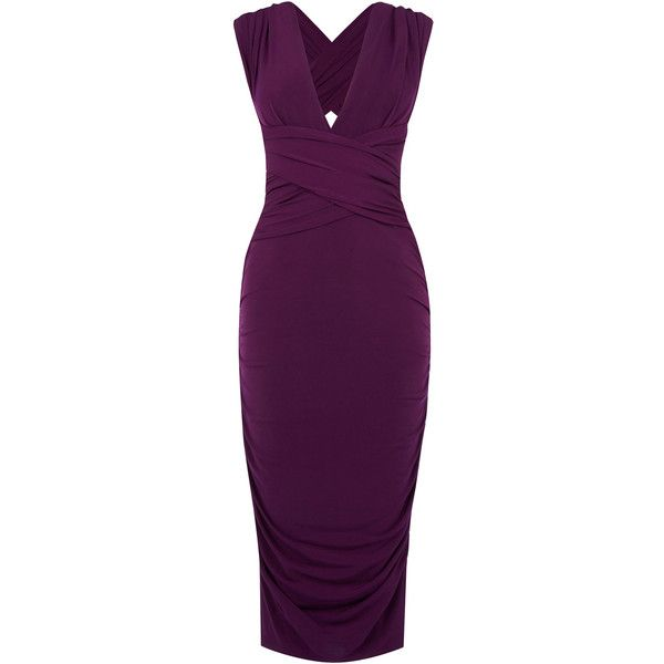 OASIS Wear It Your Way Pencil Dress ($21) ❤ liked on Polyvore featuring dresses, purple, evening bridesmaid dresses, cocktail dresses, holiday dresses, purple evening dresses and purple dress