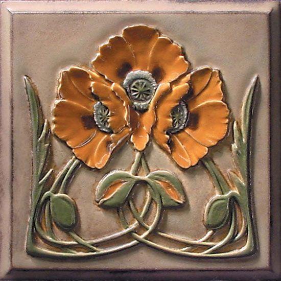 Lewellen Studio arts and crafts tile; craftsman bungalow; poppies