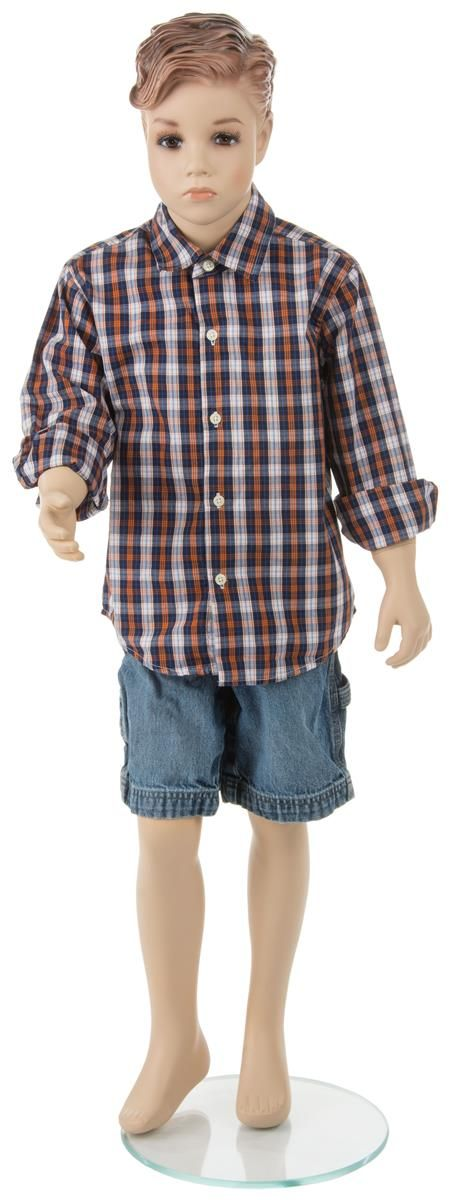 Male Child Mannequin with Base, Painted Facial Features – Flesh Tone