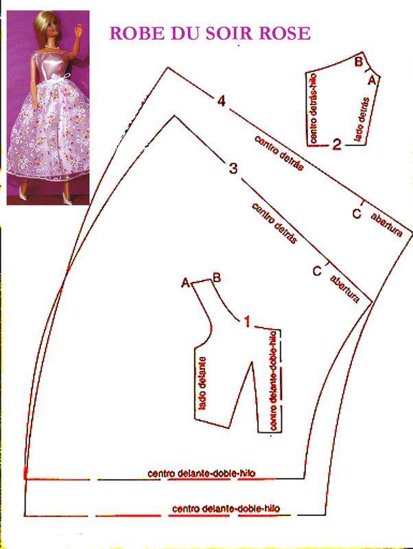 Spring dress pattern for Barbie.