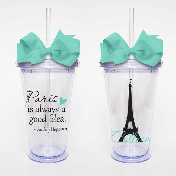 Audrey Hepburn Quote Paris  Acrylic Tumbler by SweetSipsters, $15.00