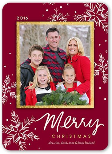 Painted Snowflakes Christmas Card, Rounded Corners, Purple